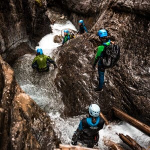 Group adventure in canyons and waterfalls